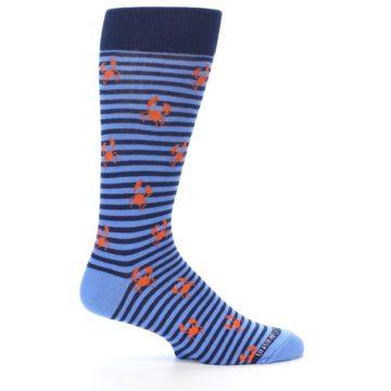 Image of Navy Blue Orange Crabs Men's Dress Socks (side-1-25)