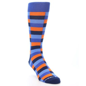 Image of Orange Navy Blue Checkered Men's Dress Socks (side-1-front-02)