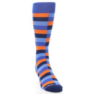 Image of Orange Navy Blue Checkered Men's Dress Socks (side-1-front-03)