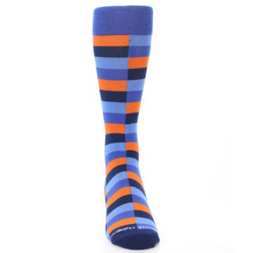Image of Orange Navy Blue Checkered Men's Dress Socks (front-04)