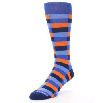 Image of Orange Navy Blue Checkered Men's Dress Socks (side-2-front-08)