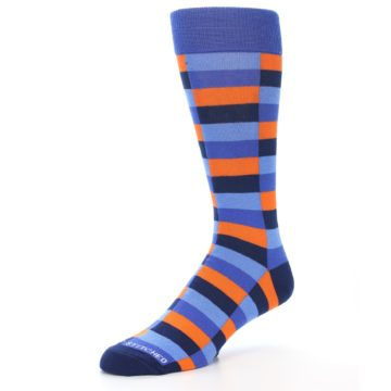 Image of Orange Navy Blue Checkered Men's Dress Socks (side-2-09)