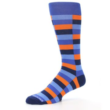 Image of Orange Navy Blue Checkered Men's Dress Socks (side-2-10)