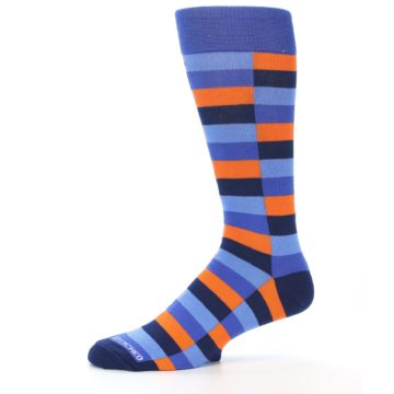 Image of Orange Navy Blue Checkered Men's Dress Socks (side-2-11)