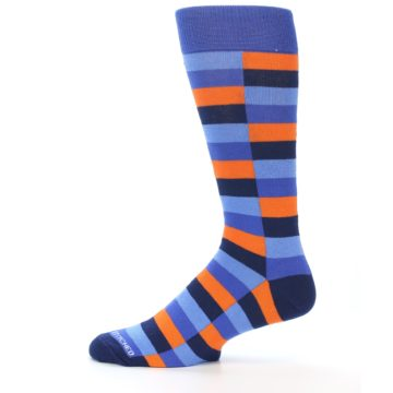 Image of Orange Navy Blue Checkered Men's Dress Socks (side-2-12)