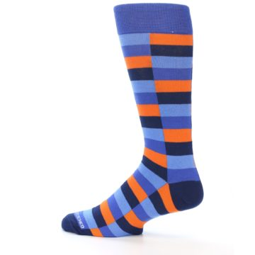 Image of Orange Navy Blue Checkered Men's Dress Socks (side-2-13)