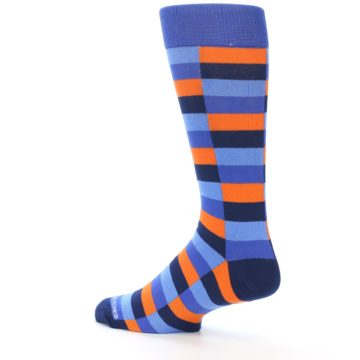 Image of Orange Navy Blue Checkered Men's Dress Socks (side-2-back-14)