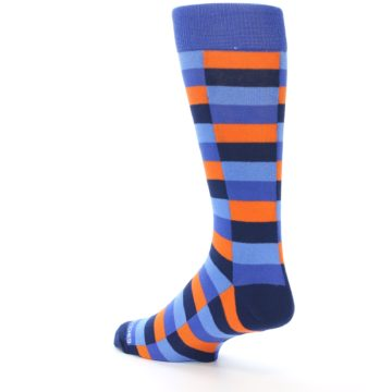 Image of Orange Navy Blue Checkered Men's Dress Socks (side-2-back-15)