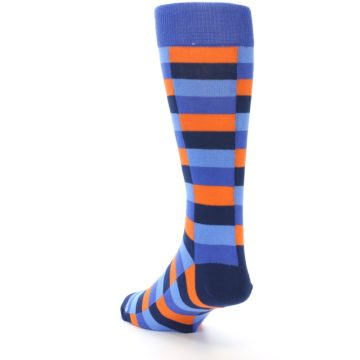 Image of Orange Navy Blue Checkered Men's Dress Socks (side-2-back-16)