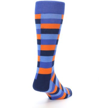 Image of Orange Navy Blue Checkered Men's Dress Socks (side-1-back-21)