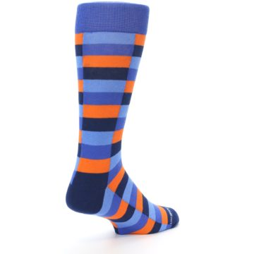 Image of Orange Navy Blue Checkered Men's Dress Socks (side-1-back-22)