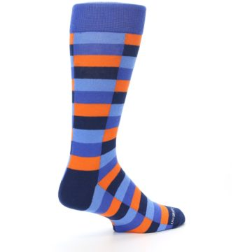 Image of Orange Navy Blue Checkered Men's Dress Socks (side-1-23)