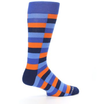 Image of Orange Navy Blue Checkered Men's Dress Socks (side-1-24)