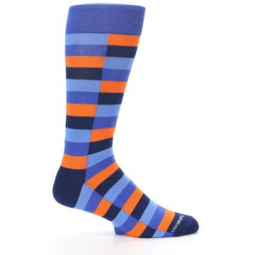 Image of Orange Navy Blue Checkered Men's Dress Socks (side-1-25)