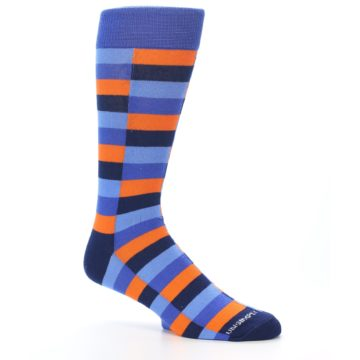 Image of Orange Navy Blue Checkered Men's Dress Socks (side-1-26)