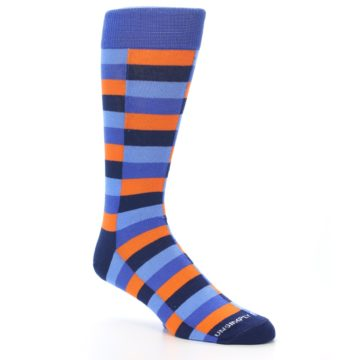 Image of Orange Navy Blue Checkered Men's Dress Socks (side-1-27)
