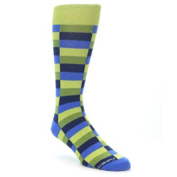 Image of Green Navy Blue Checkered Men's Dress Socks (side-1-front-01)