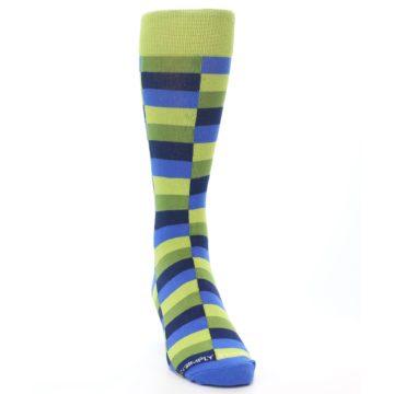 Image of Green Navy Blue Checkered Men's Dress Socks (side-1-front-03)