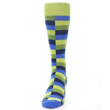 Image of Green Navy Blue Checkered Men's Dress Socks (front-05)