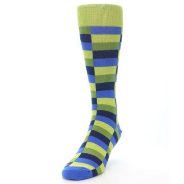 Image of Green Navy Blue Checkered Men's Dress Socks (side-2-front-06)
