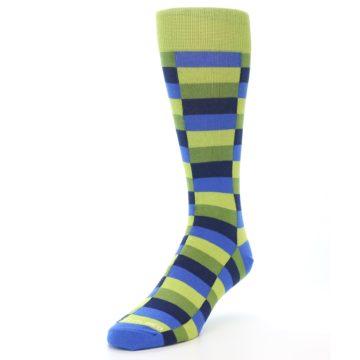 Image of Green Navy Blue Checkered Men's Dress Socks (side-2-front-07)
