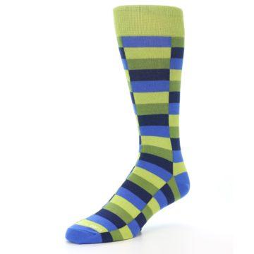 Image of Green Navy Blue Checkered Men's Dress Socks (side-2-front-08)