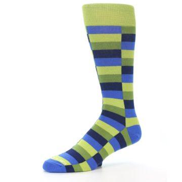 Image of Green Navy Blue Checkered Men's Dress Socks (side-2-09)