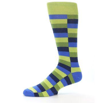 Image of Green Navy Blue Checkered Men's Dress Socks (side-2-10)