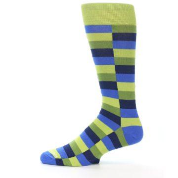 Image of Green Navy Blue Checkered Men's Dress Socks (side-2-11)