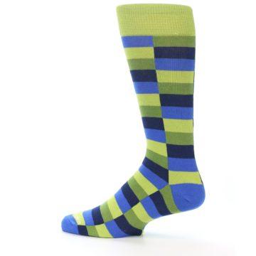 Image of Green Navy Blue Checkered Men's Dress Socks (side-2-12)