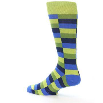 Image of Green Navy Blue Checkered Men's Dress Socks (side-2-13)