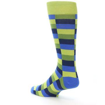 Image of Green Navy Blue Checkered Men's Dress Socks (side-2-back-14)