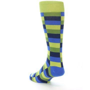 Image of Green Navy Blue Checkered Men's Dress Socks (side-2-back-15)