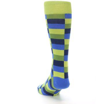 Image of Green Navy Blue Checkered Men's Dress Socks (side-2-back-16)