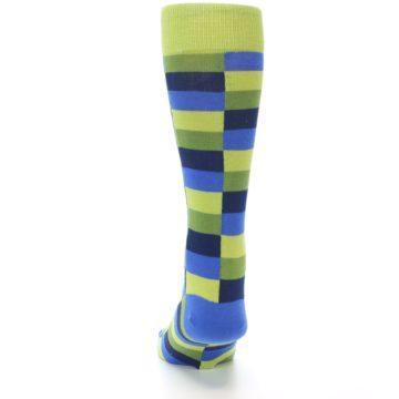 Image of Green Navy Blue Checkered Men's Dress Socks (back-17)