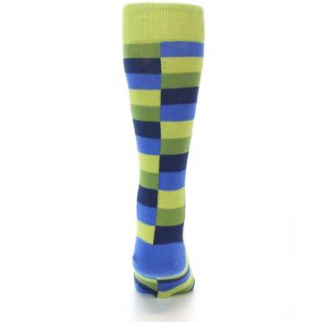 Image of Green Navy Blue Checkered Men's Dress Socks (back-18)