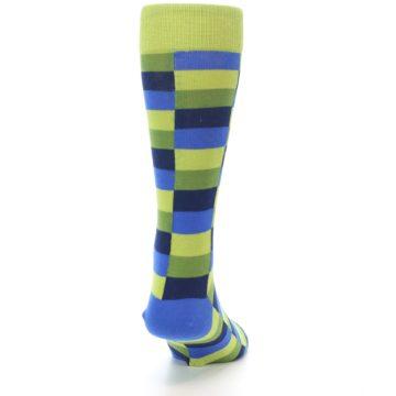 Image of Green Navy Blue Checkered Men's Dress Socks (back-19)