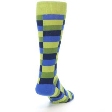 Image of Green Navy Blue Checkered Men's Dress Socks (side-1-back-20)