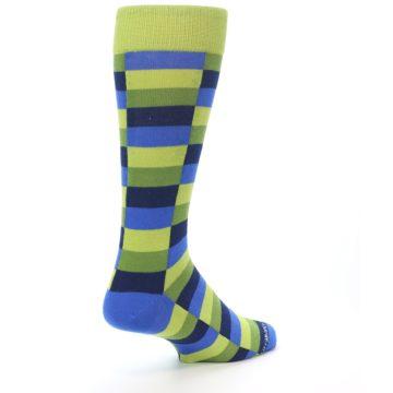Image of Green Navy Blue Checkered Men's Dress Socks (side-1-back-21)