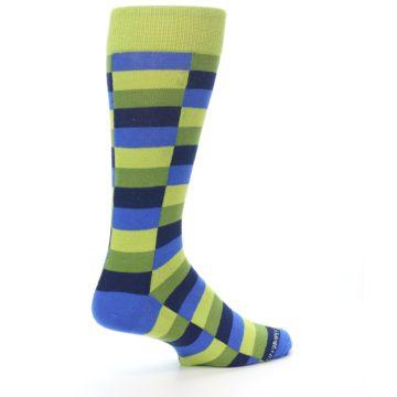 Image of Green Navy Blue Checkered Men's Dress Socks (side-1-back-22)