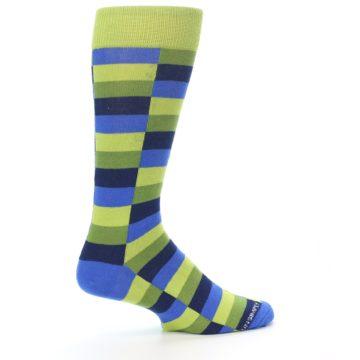 Image of Green Navy Blue Checkered Men's Dress Socks (side-1-23)