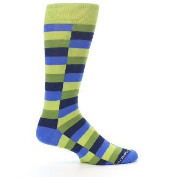 Image of Green Navy Blue Checkered Men's Dress Socks (side-1-24)