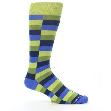 Image of Green Navy Blue Checkered Men's Dress Socks (side-1-25)
