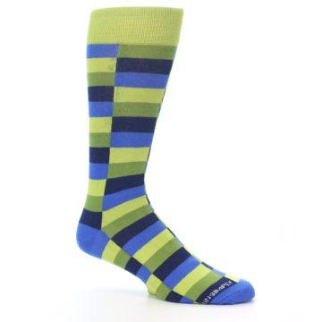 Image of Green Navy Blue Checkered Men's Dress Socks (side-1-26)