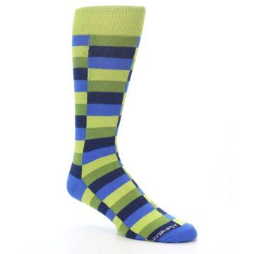 Image of Green Navy Blue Checkered Men's Dress Socks (side-1-27)