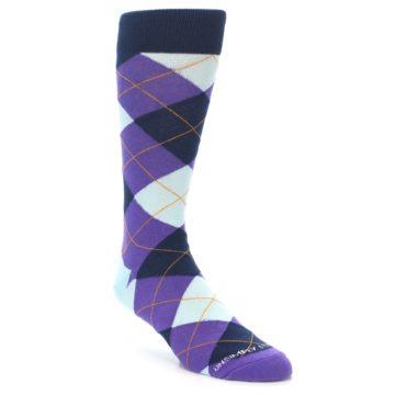 Image of Purple Light-Blue Argyle Men's Dress Socks (side-1-front-01)