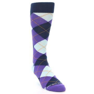 Image of Purple Light-Blue Argyle Men's Dress Socks (side-1-front-02)