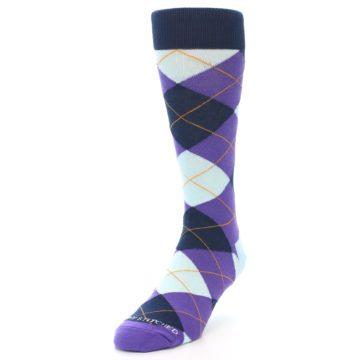 Image of Purple Light-Blue Argyle Men's Dress Socks (side-2-front-07)