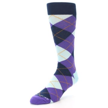 Image of Purple Light-Blue Argyle Men's Dress Socks (side-2-front-08)