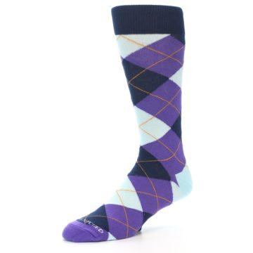 Image of Purple Light-Blue Argyle Men's Dress Socks (side-2-09)